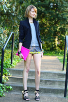 light yellow scarf print Topshop shorts - black Zara blazer