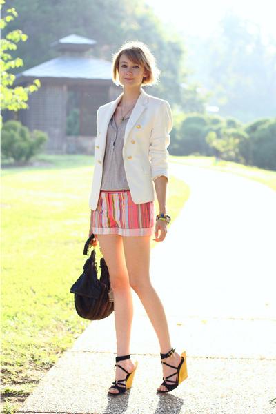 black gold heel YSL wedges - white double-breasted Zara blazer