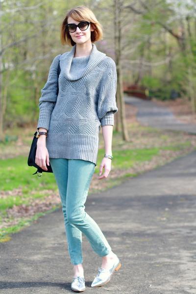 heather gray cowl neck H&M sweater - aquamarine skinny jeans Zara jeans