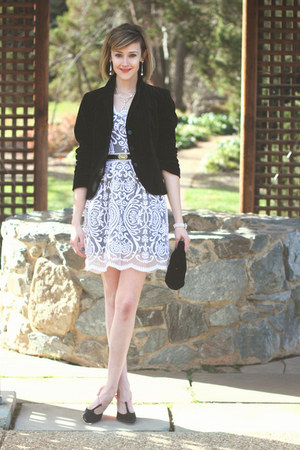 white lace BHLDN dress - black velvet J Crew jacket