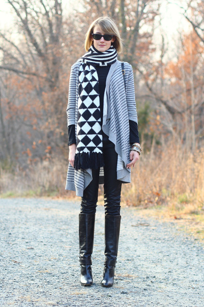 white geometric print echo scarf - black knee-high boots karen millen boots