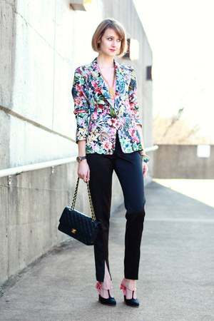 bubble gum floral print Zara blazer - black quilted Chanel bag