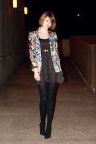 aquamarine floral print Zara blazer - black lurex Topshop dress