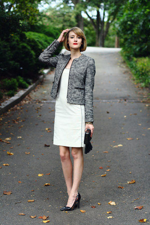 black boucle zipper banana republic blazer - white bodycon ADAM dress