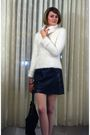 White-illig-sweater-gold-vintage-necklace-black-urban-outfitters-skirt-bla