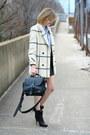 Black-ankle-boots-balenciaga-boots-white-plaid-vintage-coat