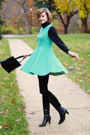 aquamarine flared skirt romwe dress - black ferragamo boots