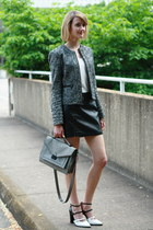 gray boucle moto banana republic jacket - gray shoulder bag loeffler randall bag