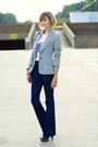Navy-high-waisted-j-brand-jeans-silver-sparkly-zara-blazer