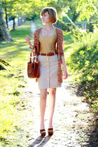 red Missoni cardigan - gold vintage top - beige H&amp;M skirt - brown Urban Outfitte