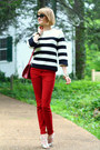 Red-skinny-zara-jeans-white-striped-jigsaw-sweater