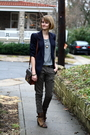 Brown-louis-vuitton-purse-blue-vintage-blazer-green-mango-pants-black-ysl-