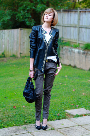 black surface to air jacket - green Mango pants - black Givenchy shoes - white T
