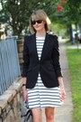 Black-tailored-zara-blazer-ivory-striped-asos-dress