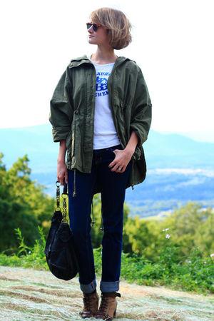 green Topshop jacket - blue J Brand jeans - brown born boots - black KMRii bag -