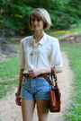 White-vintage-blouse-blue-vintage-jeans-brown-urban-outfitters-belt-brown-