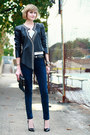 Black-studded-leather-surface-to-air-jacket-black-studded-vintage-belt