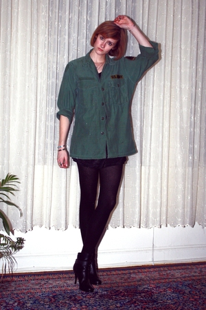 green vintage top - black H&M t-shirt - black H&M tights - black balenciaga boot
