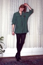 Green-vintage-top-black-h-m-t-shirt-black-h-m-tights-silver-balenciaga-boo