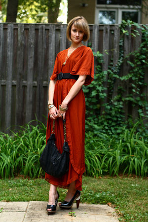orange vintage dress - black vintage belt - black KMRii bag - black Finsk shoes