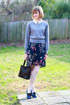 navy floral vintage skirt