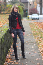 navy plaid Brooks Brothers scarf - black knee high karen millen boots