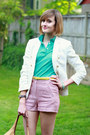 Salmon-cooperative-shorts-ivory-double-breasted-zara-blazer