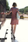White-oversized-theory-bag-light-orange-striped-thrifted-dress