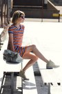 Light-orange-striped-thrifted-dress-white-oversized-theory-bag