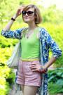 Blue-cardigan-print-anthropologie-sweater-white-hobo-theory-bag