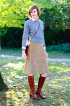 tawny ferragamo boots - heather gray crewneck united colors of benetton sweater