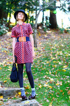 red Kate Hill dress - blue vintage belt - gray Eloise tights - red Dr Martens sh