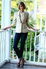 Beige-joseph-picone-blazer-beige-vintage-blouse-orange-vintage-accessories-