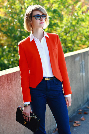 navy J Brand jeans - carrot orange bright Zara blazer - black quilted Chanel bag