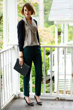 forest green tailored Zara pants - navy Ralph Lauren bag
