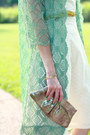 Chartreuse-lace-vintage-coat-white-eyelet-express-dress