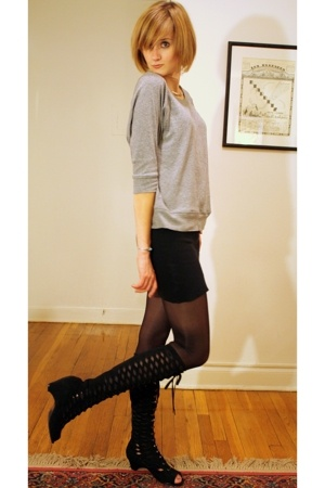 Gap top - American Apparel skirt - American Apparel tights - Urban Outfitters bo