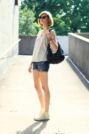 silver tank top Anthropologie top - black studded bag KMRii bag