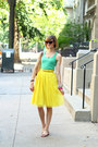 Yellow-pleated-romwe-skirt-brown-cat-eye-random-boutique-sunglasses