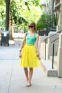 Yellow-pleated-romwe-skirt-brown-cat-eye-random-boutique-sunglasses