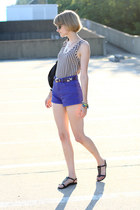 black romwe top - black studded bag KMRii bag - violet denim Ksubi shorts