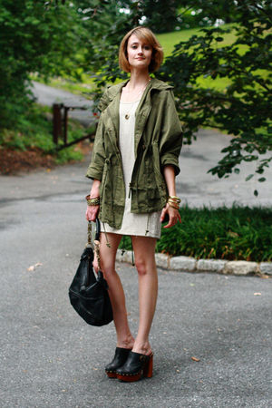 green Topshop jacket - black Jeffrey Campbell shoes - gold H&M dress - gold Tops