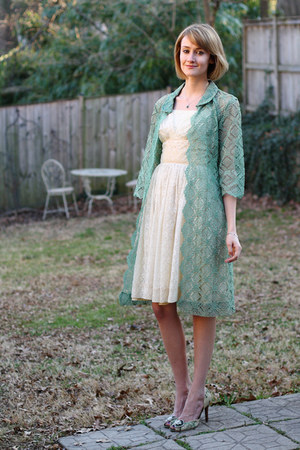 ivory lace vintage dress - chartreuse lace vintage coat