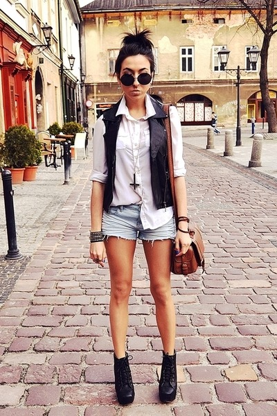 brown Topshop bag - white Cubus shirt - periwinkle New Yorker shorts