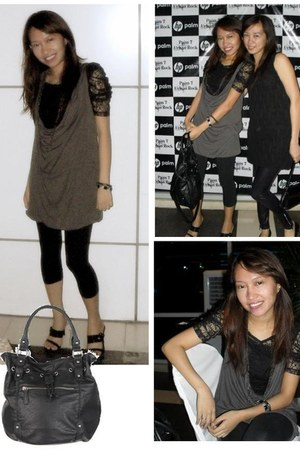 black Kamiseta top - heather gray Just G dress - black Forever 21 bag