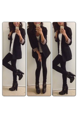 black sam edelman boots - black H&M blazer - white Armani Exchange t-shirt