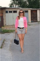 lindex shorts - J Crew cardigan - Zara top - Aldo wedges - Chanel accessories