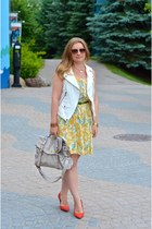 Mango dress - Mulberry bag - Zara vest - Pour La Victoire wedges