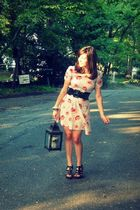 white Urban Outfitters dress - black Boutique in LA belt - brown Target shoes