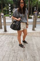 beige H&M shorts - gray cotton on t-shirt - black Miu Miu purse - black Hong Kon